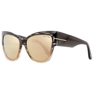 Tom Ford TF371 Anoushka 20G Womens Gray Melange/Peach 57 mm Sunglasses - gray melange/peach
