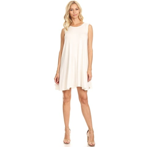 Women's Solid Sleeveless Tank Style Pleated Shirt Dress