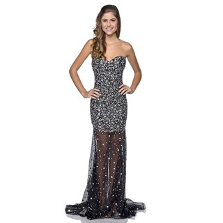 Milano Formals Women's Bejeweled Sweetheart Long Gown