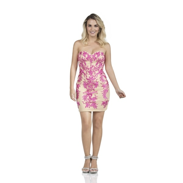 beb62732727c2 Strapless Embroidered Tulle Mini Dress
