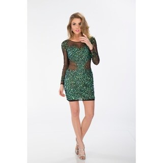 Milano Formals Long Sleave Beaded Green Short Dress