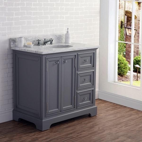 Shop 36 Inch Wide Cashmere Grey Single Sink Carrara Marble ...