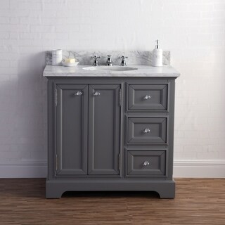 36 Inch Wide Cashmere Grey Single Sink Carrara Marble Bathroom Vanity From The Derby Collection