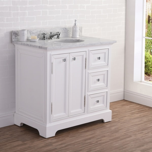 36 Inch Wide Pure White Single Sink Carrara Marble Bathroom Vanity From The Derby Collection