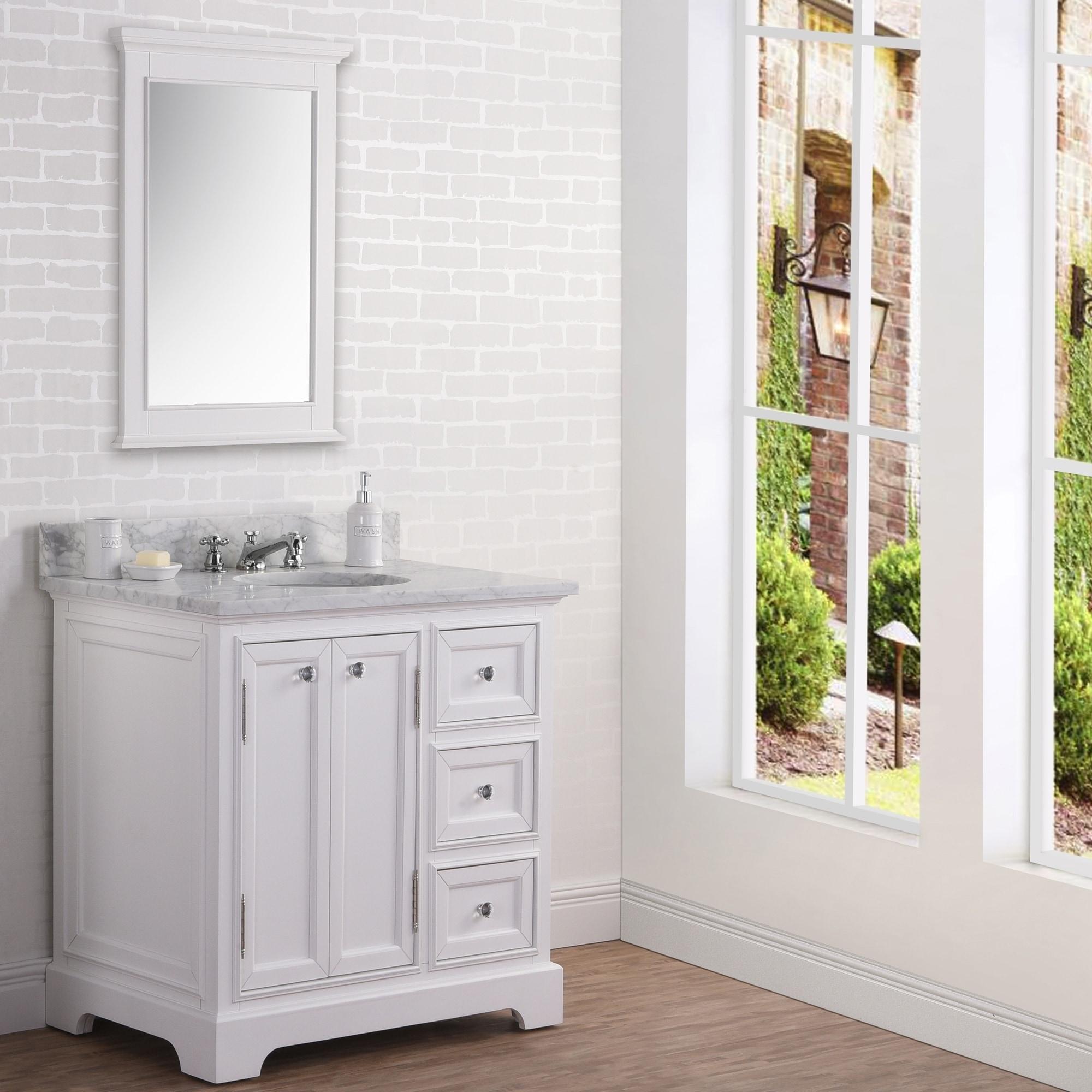 Single Sink Carrara Marble Bathroom
