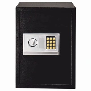 E50EA Home Business Security Keypad Lock Electronic Digital Steel Safe Black Box & Silver Gray