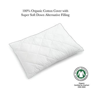 Quilted Down Alternative Organic Cotton Pillow - White