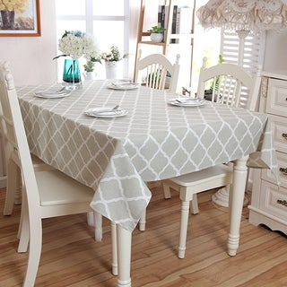 "Enova Home 54""x 80"" Diamond Pattern Natural Simple 100% Cotton and Linen Rectangle Tablecloth - 72 Inches"
