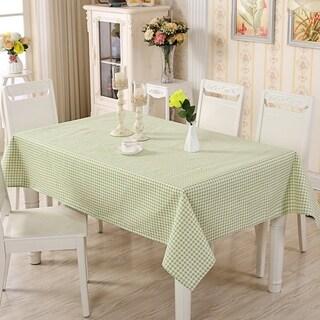"Enova Home 54""x 80"" Green Pattern Natural Simple 100% Cotton and Linen Rectangle Tablecloth - 72 Inches"