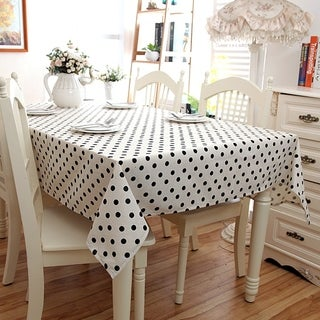 "Enova Home 54""x 72"" Black Spots Natural Simple 100% Cotton and Linen Rectangle Tablecloth - 72 Inches"