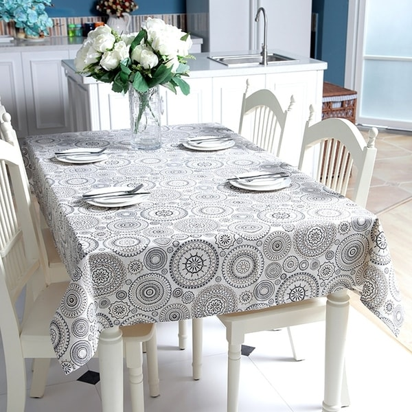 """Enova Home 54""""x 72"""" Natural Simple Round Pattern Rectangle Shape 100% Cotton and Linen Fabric Tablecloth - 72 Inches"""