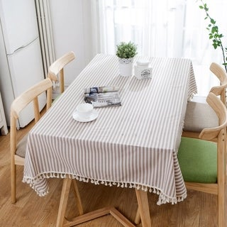 """Enova Home 54""""x 54"""" Thicken Natural Simple Pattern Square Shape 100% Cotton Fabric Tablecloth - 72 Inches"""