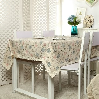 "Enova Home 54""x 72"" Flower Pattern Printed Natural Simple 100% Cotton and Linen Rectangle Tablecloth - 72 Inches"