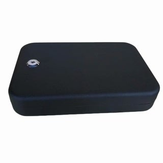 Portable Key Style Pistol Safe Box Black