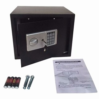 Home Office Security Keypad Lock Electronic Digital Steel Safe Black Box & Silver Gray Panel