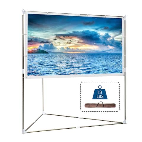 100 inch 16:9 Projector Screen with Triangle Stand, Outdoor & Indoor Compatible Protable for Home Cinema, Theater, Office.