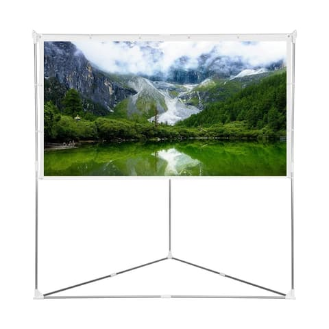 80 inch 16:9 Projector Screen with Triangle Stand, Outdoor & Indoor Compatible Protable for Home Cinema, Theater, Event, Office.