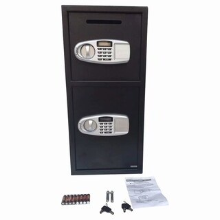 Home Office Security Large Electronic Digital Steel Safe Black Box & Silver Gray Panel