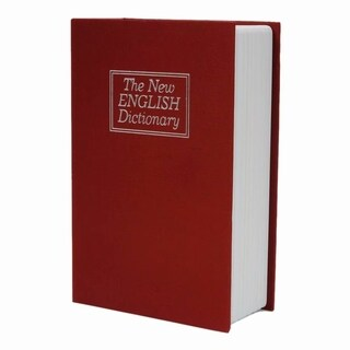 Simulation English Dictionary Style Mini Safety Storage Box Red M
