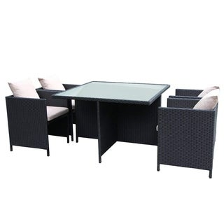 The Home Patio Furniture Outside Garden Rattan Dining Set With 5PCS, Wicker Furniture Set