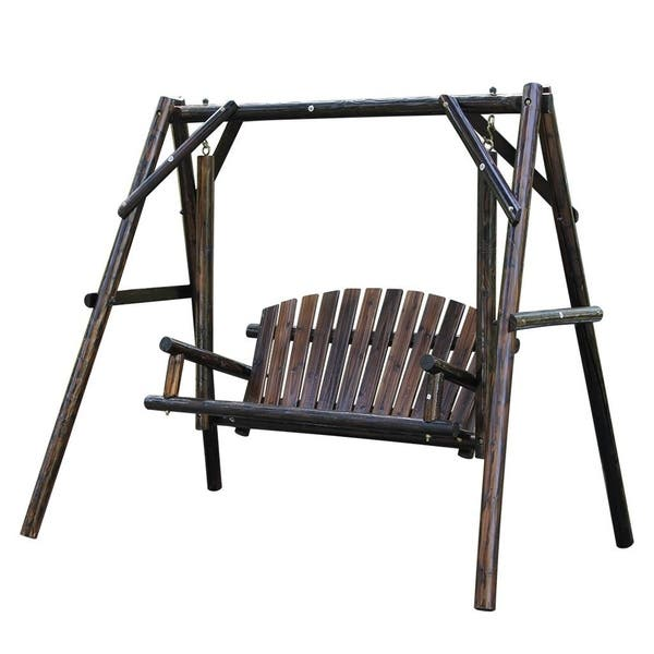 Shop Wooden Garden Swing With Large Space For Outdoor