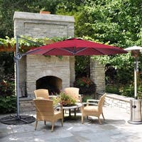 10 Ft Patio Umbrella Offset Cantilever Hanging Umbrella, Burgundy