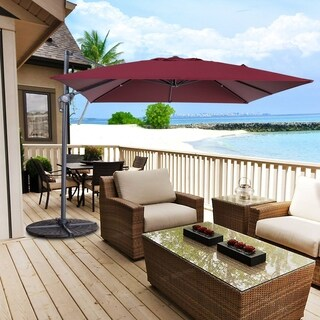 10 x 10 Ft Patio Contemporary Hanging Cantilever Umbrella, Burgundy