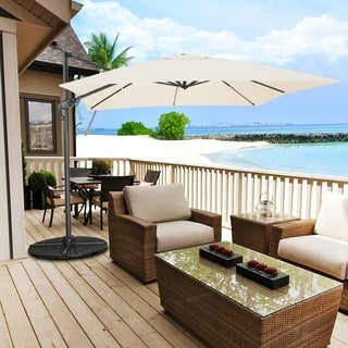 10 Ft Patio Umbrella Offset Outdoor Umbrella, 8 Ribs Polyester Cantilever Hanging Umbrella 360 Degree Rotation, off-white