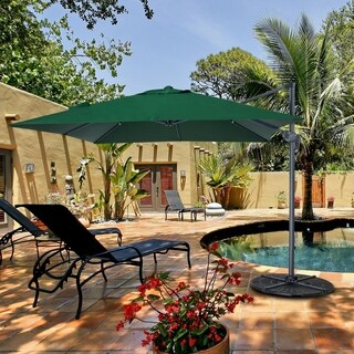 10 x 10 Ft Patio 8 Steels Ribs Outdoor Sun Shade Offset Umbrella, Hunter Green