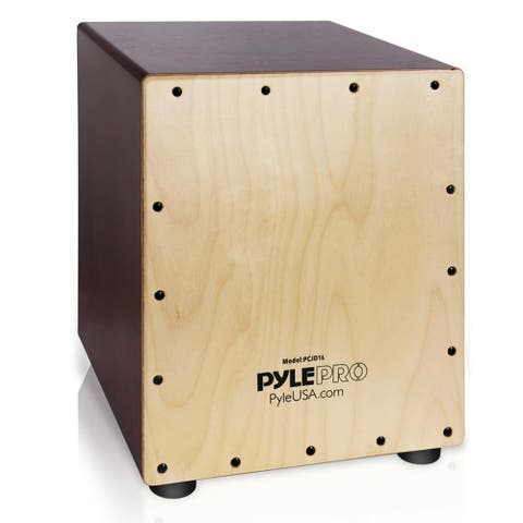 Pyle Stringed Birch Wood Compact Acoustic Jam Cajon Wooden Hand Drum Percussion Box