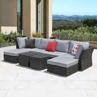 Corvus 8-piece Dark Grey Wicker Aluminum Outdoor Sofa Set with Cushions