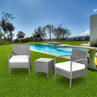 Outdoor Patio Furniture 3-piece Sofa Set Wicker Chat Set with Coffee Table