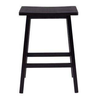 "29"" Kitchen Wood Saddle Seat Counter Chair Bar Stools (Set of 2)"