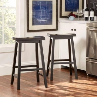 "29"" Kitchen Wood Saddle Seat Counter Chair Bar Stools (Set of 2)"