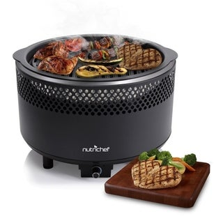 NutriChef PKGRCH41 Upgraded Charcoal BBQ Grill Smokeless Portable Outdoor Stainless Steel Heavy Duty Battery Powered