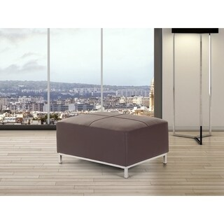 Oslo Brown/Chrome Faux Leather Ottoman