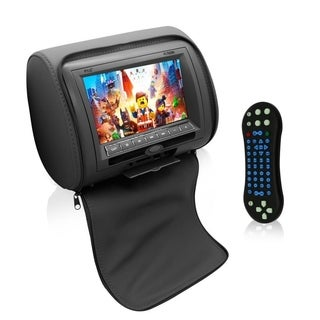 Pyle Upgraded HD Car Headrest DVD Player Monitor Display 7 inch Widescreen, Remote USB / SD Reader, FM IR - Black