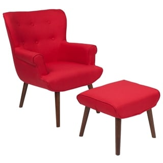 Upholstered Button Tufted Wingback Chair & Ottoman with Wood Legs