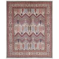 Handmade Herat Oriental Afghan Bahara Collection Hand-knotted Kazak Vegetable Dye Wool Rug (9' x 11'4)