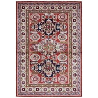 Handmade Herat Oriental Afghan Bahara Collection Hand-knotted Kazak Vegetable Dye Wool Rug (2'8 x 4')