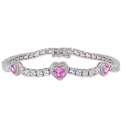 Miadora Sterling Silver Created Pink and White Sapphire Triple Heart Tennis Bracelet