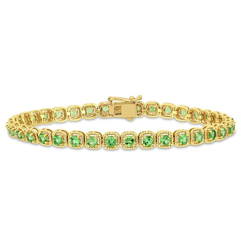 Miadora 14k Yellow Gold Tsavorite Linked Tennis Bracelet