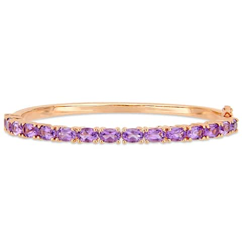 Miadora Rose Plated Sterling Silver 6ct TGW Amethyst Semi-Eternity Bangle