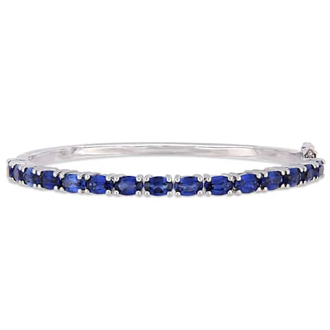 Miadora Sterling Silver 8 1/4ct TGW Created Blue Sapphire Semi-Eternity Bangle