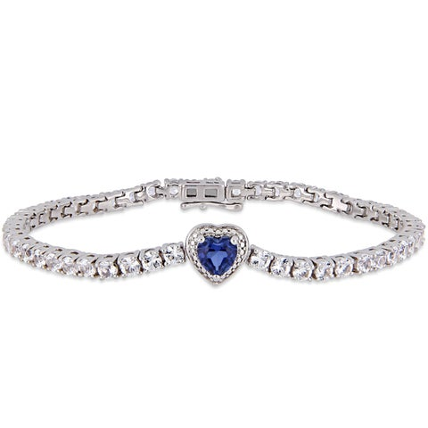 Miadora Sterling Silver Created Blue and White Sapphire Tennis Heart Bracelet
