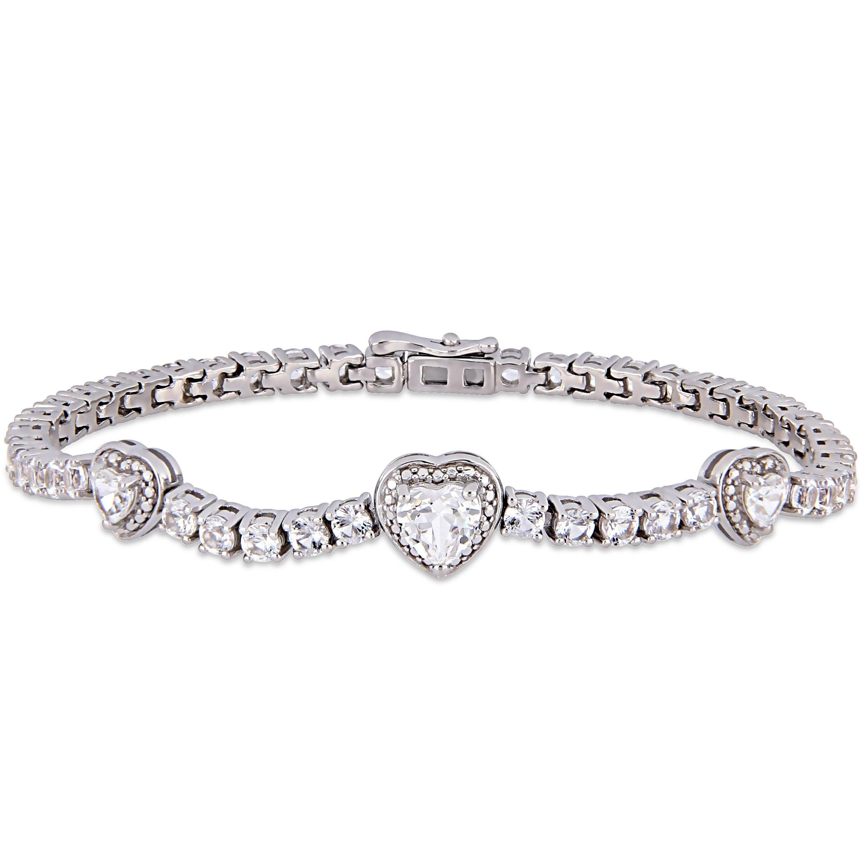 "PLATINUM STERLING SILVER DIAMOND SET WHITE SAPPHIRE 7/"" TENNIS DESIGN BRACELET"