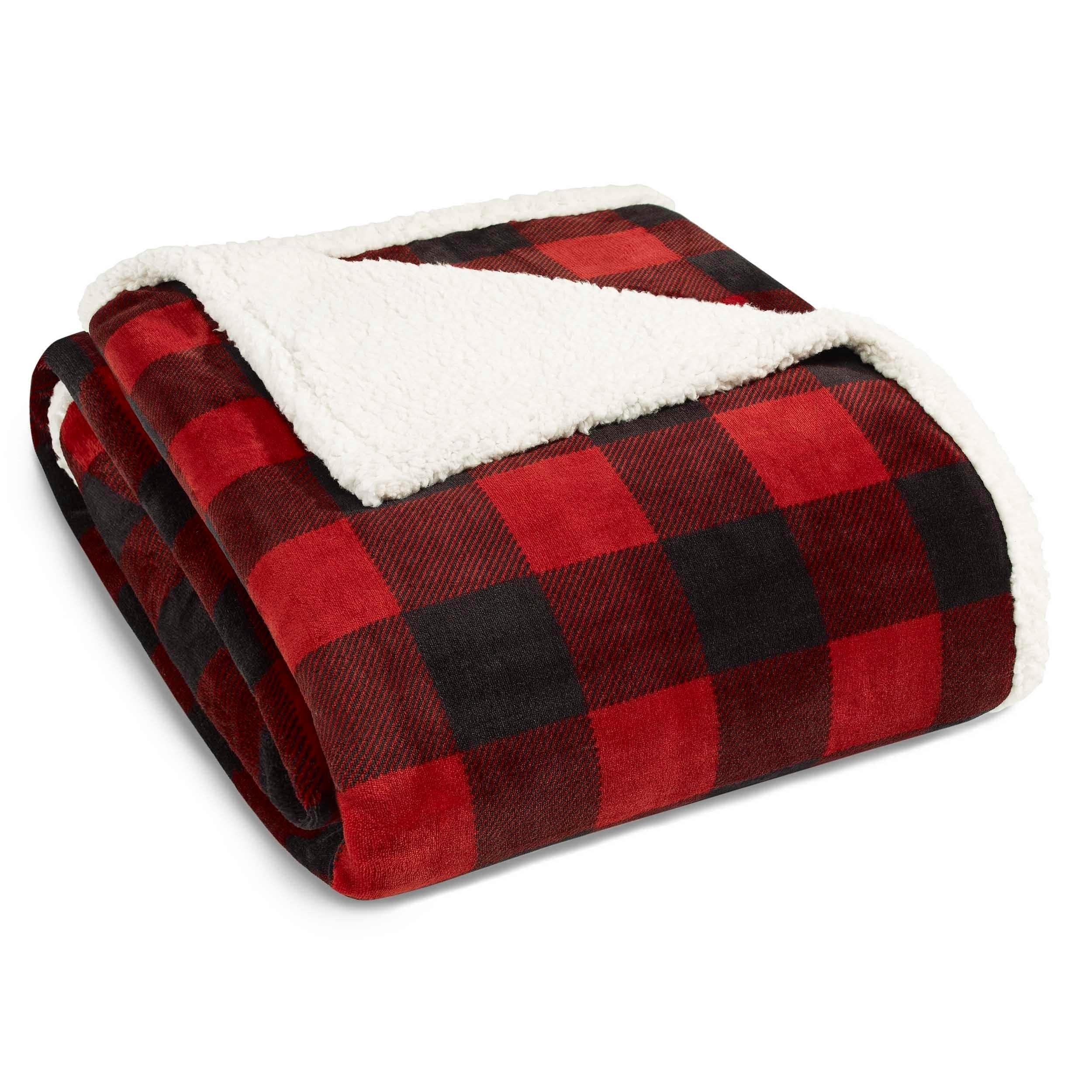 "WOOLRICH Velvet soft plush throw sherpa RED PLAID 50/"" x 60/"""