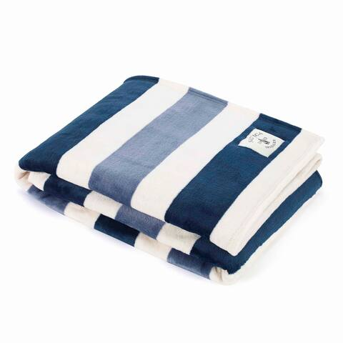 Nautica Awning Stripe Ultra Soft Plush Navy Throw