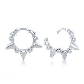 La Preciosa Sterling Silver Italian Studded Mini Hoop Huggie Earrings