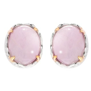 Michael Valitutti Palladium Silver Oval Cabochon Kunzite Stud Earrings